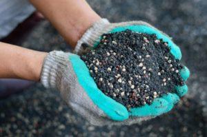 руки, почва с удобрениями