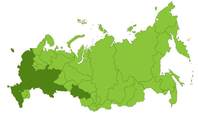 Регионы распространения на карте России