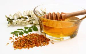 мед, пыльца, блюдо с медом