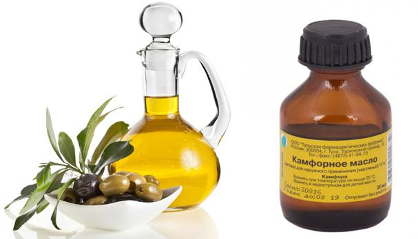 Смесь камфорного и оливкового масла