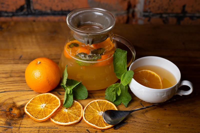 Мята, лимон, апельсин и мед