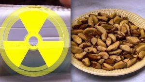 орехи в тарелке, знак радиации
