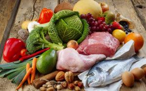 рыба, мясо, овощи, фрукты