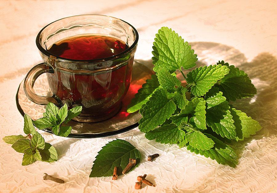 Мяту добавляют в черный или зеленый чай