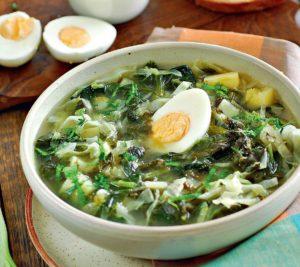 яйцо, суп, тарелка, стол