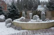 сад, растения, снег, забор, дом
