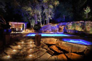 камни, бассейн, деревья