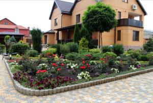 дом, деревья, цветы, кустарники