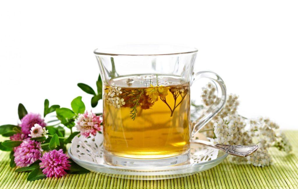 чашка, растения, стол, блюдце