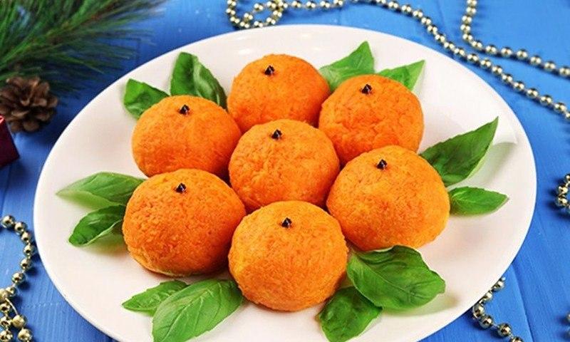 Новогодняя закуска мандарин