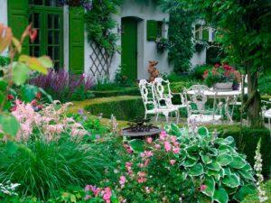 дом, сад, стулья, цветы, стол