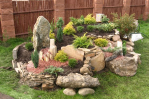 цветы, кустарники, камни