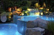 бассейн, фонари, растения
