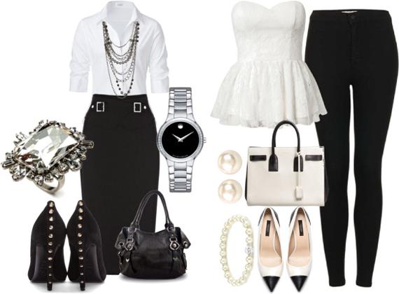 Сочетание одежды черного и белого цвета