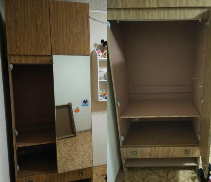 Девушка превратила старый облезлый шкаф