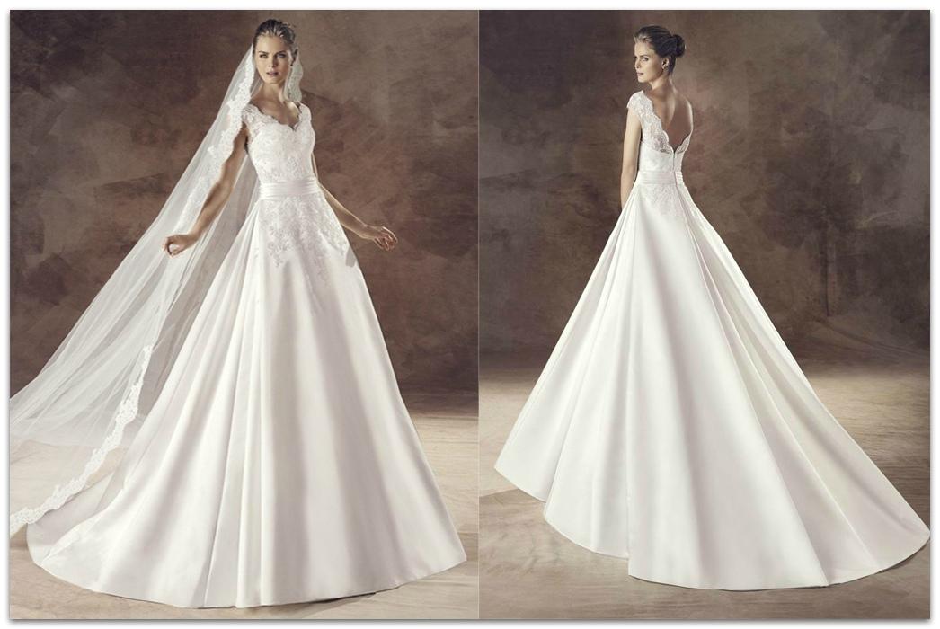 Свадебное платье из белого сатина