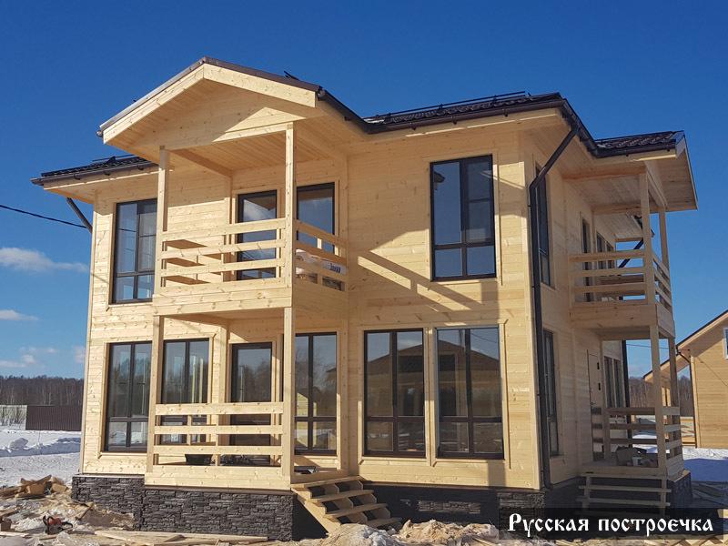 Русская построечка дома из бруса