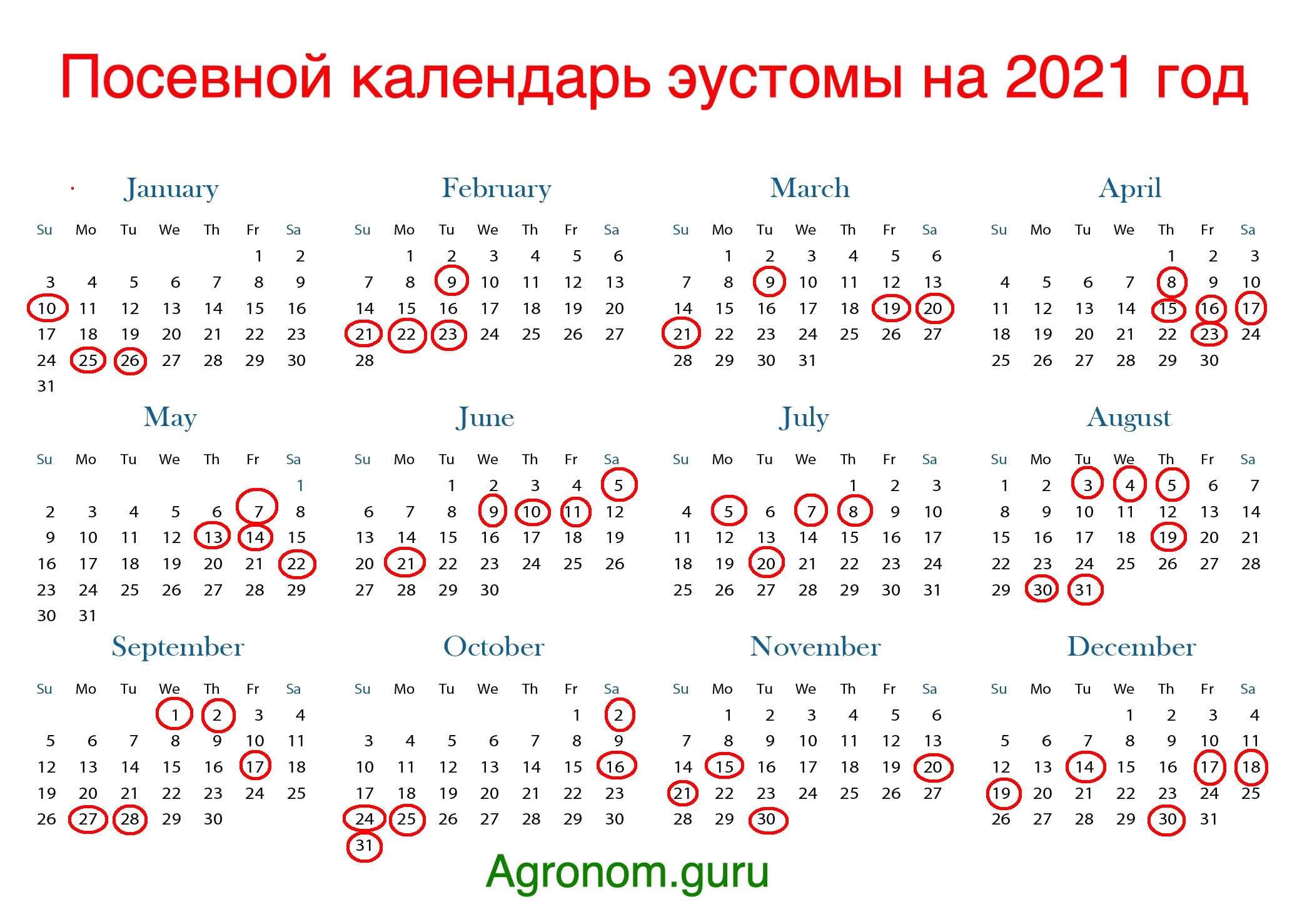 Лунный посевной календарь на 2021